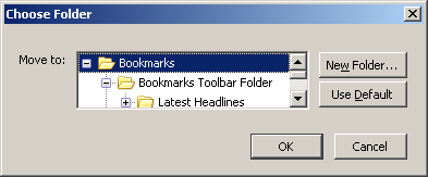 chose a folder to move the bookmark to