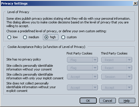Netscape 7's P3P cookie preferences dialog